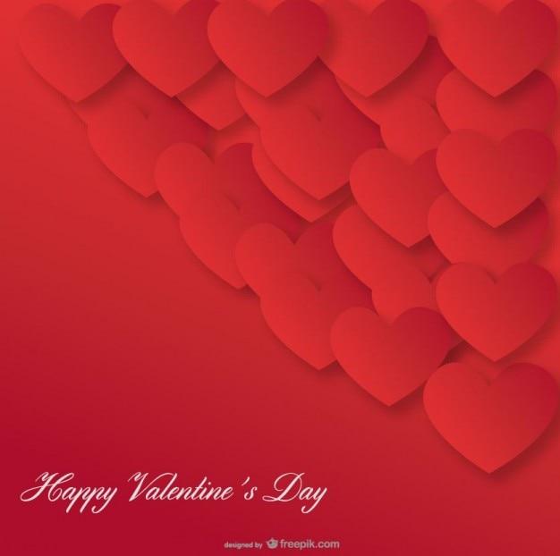 Día diseño tarjeta del fondo del corazón rojo de san valentín