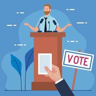 El día de las elecciones, el hombre en el podio y la mano que sostiene el diseño del papel de votación, el gobierno del presidente y el tema de la campaña