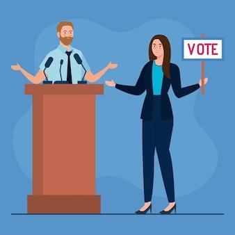 El día de las elecciones, el hombre en el podio y la mujer con diseño de cartel de voto, el presidente del gobierno y el tema de la campaña