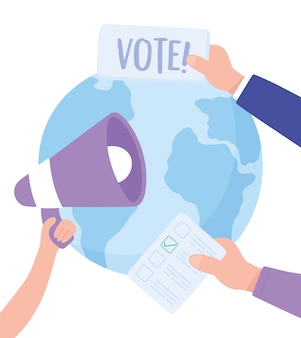 Día de las elecciones, manos del mundo con la ilustración de vector de campaña de votación de megáfono