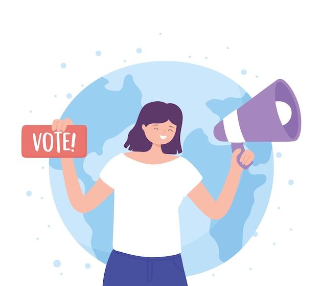 Día de las elecciones, mujer con signo de voto de megáfono e ilustración de vector de fondo mundial