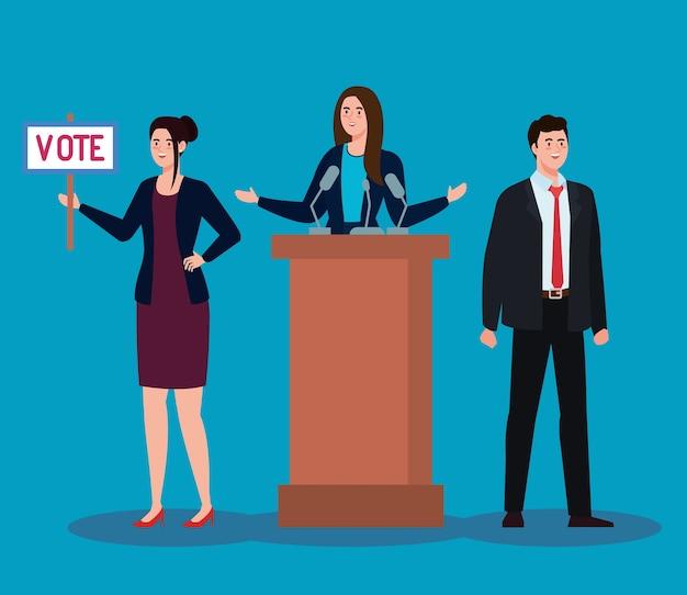El día de las elecciones mujer sosteniendo cartel de voto mujer en podio y diseño de hombre, presidente gobierno y tema de campaña