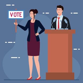 El día de las elecciones, la mujer sostiene el cartel de voto y el hombre en el diseño del podio, el presidente del gobierno y el tema de la campaña
