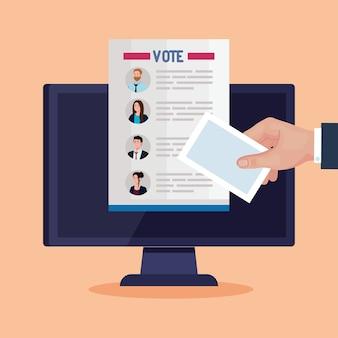 El día de las elecciones vota el documento de los presidentes sobre el diseño de computadoras, el gobierno y el tema de la campaña.