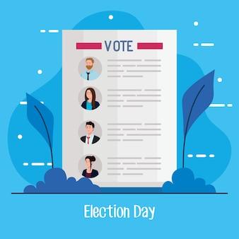 El día de las elecciones vota el papel de los presidentes con diseño de hojas, tema de gobierno y campaña.