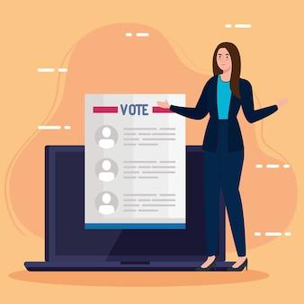 El día de las elecciones vota el papel de los presidentes sobre el diseño de la computadora portátil y la mujer, el tema del gobierno y la campaña