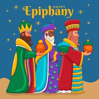 Día de la epifanía dibujado a mano