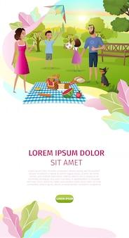 Día de la familia de dibujos animados vector landing page plantilla