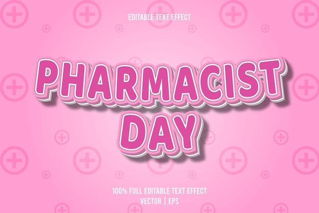 Día del farmacéutico efecto de texto editable 3 dimensiones en relieve estilo de dibujos animados