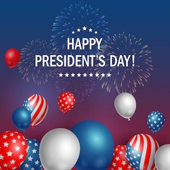 Día feliz de los presidentes los eeuu con el fondo de los fuegos artificiales.