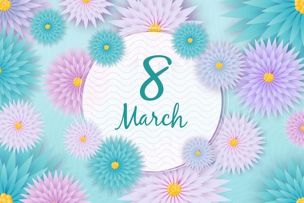 Día floral colorido de las mujeres con fecha