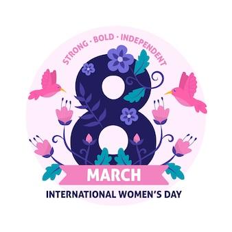 Día floral de la mujer 8 de marzo con pájaro