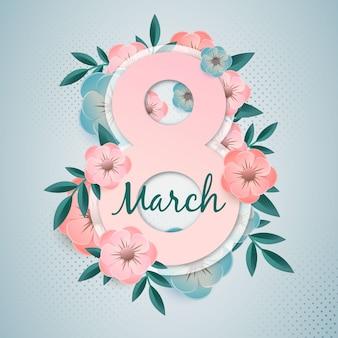 Día floral de la mujer en diseño plano