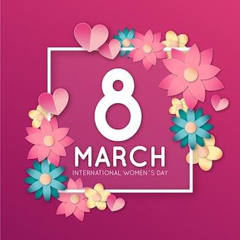 Día floral de la mujer con marco de flores