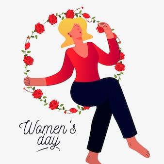 Día floral de la mujer con mujer en círculo de flores