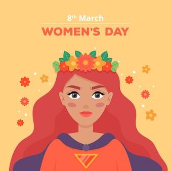 Día floral de la mujer con mujer de pelo largo