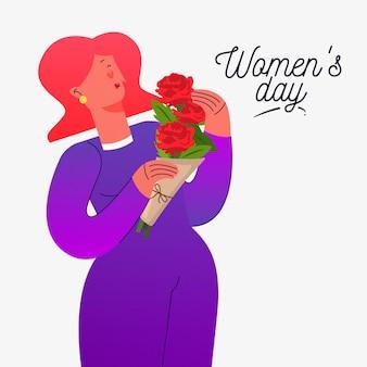 Día floral de la mujer con mujer con ramo
