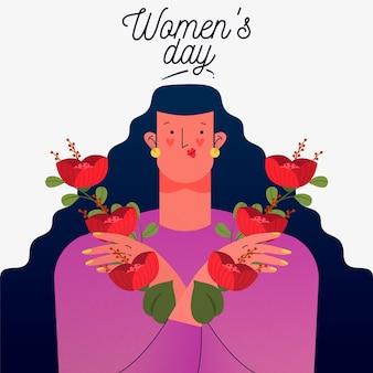Día floral de la mujer con mujer sosteniendo flores