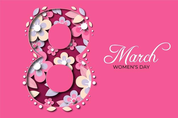 Día floral de la mujer en papel