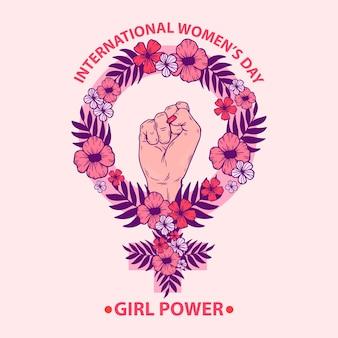 Día floral de la mujer con el puño del poder de las chicas