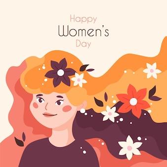 Día floral de la mujer con saludo