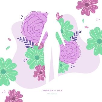 Día floral de la mujer con silueta femenina