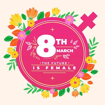 Día floral de la mujer con el símbolo de la mujer