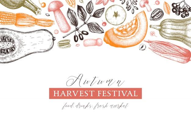 Día de gracias . fondo vintage de cosecha de otoño. telón de fondo de la temporada de otoño con bayas, frutas, verduras, ilustración de setas dibujadas a mano. elementos botánicos tradicionales de otoño.