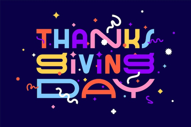Día de gracias. gracias. pancarta, póster y pegatina, estilo geométrico con texto día de acción de gracias.