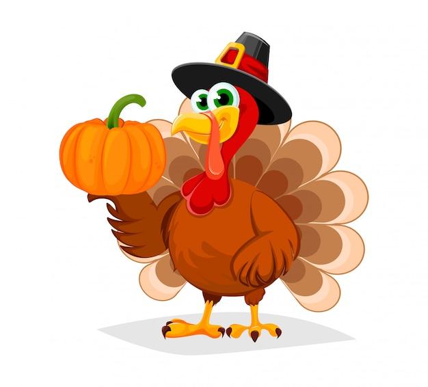 Día de gracias. personaje de dibujos animados divertidos turquía