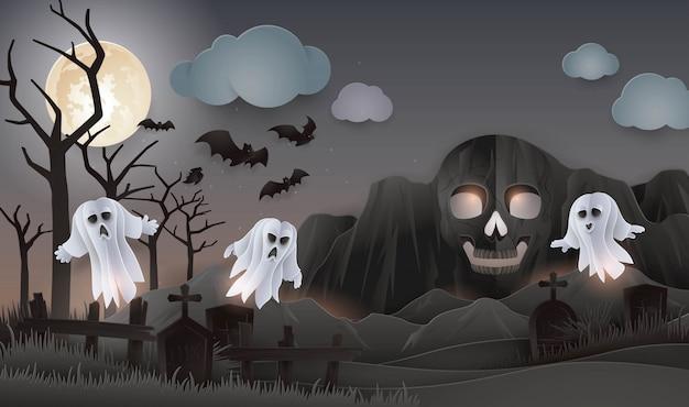 Día de halloween, montaña abstracta de la roca del cráneo con fantasma, monstruo, cementerio