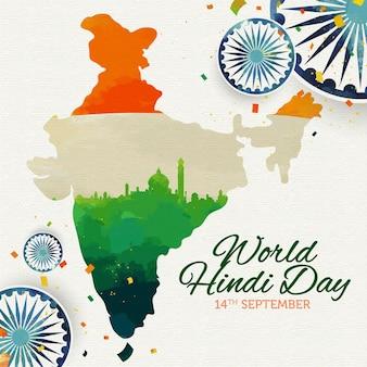 Día hindi con mapa y bandera