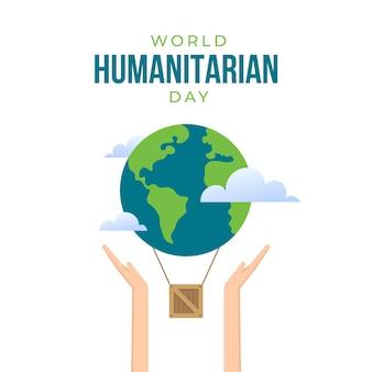 Día humanitario tierra y manos de carácter
