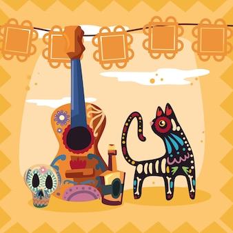 Día de los iconos y gato de la guitarra muertos