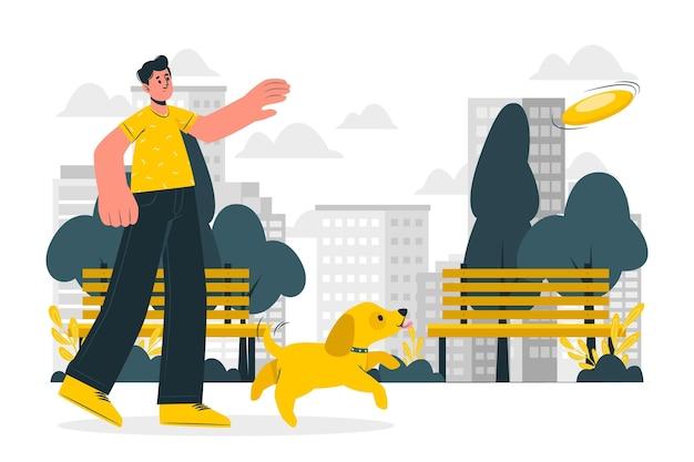 Un día en la ilustración del concepto de parque.