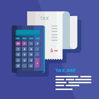 Día de impuestos con calculadora y comprobante