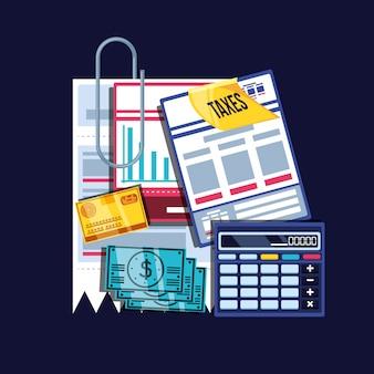 Día de impuestos con calculadora