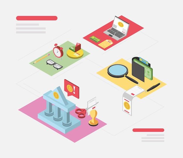 Día de impuestos cálculo bancario pago financiero ilustración de impuestos del gobierno isométrica