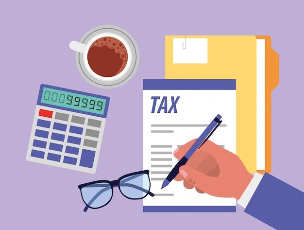 Día de impuestos caricaturas de oficina