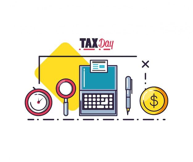 Día de impuestos con computadora portátil y establecer iconos