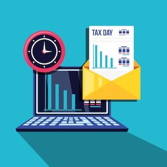 Día de impuestos con computadora portátil