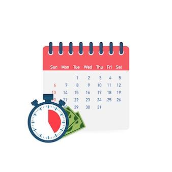 Día de impuestos. concepto de fecha de pago o préstamo de día de pago como un calendario con dinero.