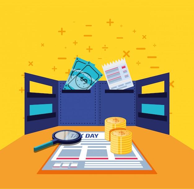Día de impuestos con documento