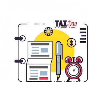 Día de impuestos con documentos y establecer iconos
