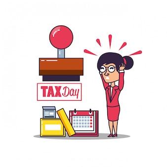 Día de impuestos con empresaria y establecer iconos