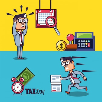 Día de impuestos con empresarios y establecer iconos