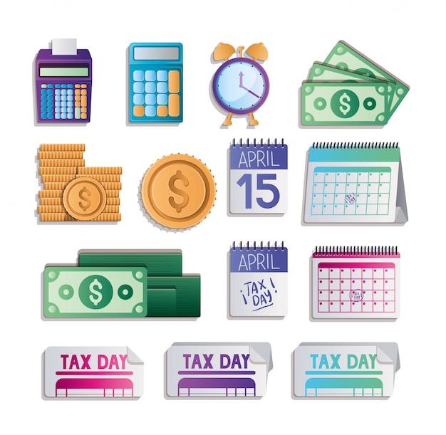 Día de impuestos establece diseño vectorial