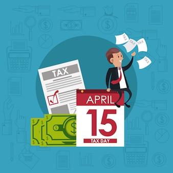 Día de impuestos, símbolos y dibujos animados.