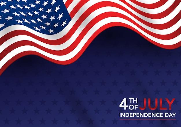 Día de la independencia del 4 de julio con bandera americana.