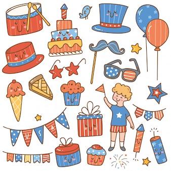 Día de la independencia 4 de julio conjunto de elementos de diseño